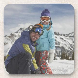USA, Colorado, Telluride, Father and daughter Beverage Coaster