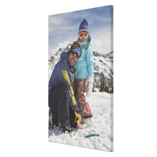 USA, Colorado, Telluride, Father and daughter Canvas Print