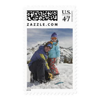 USA, Colorado, Telluride, Father and daughter Postage