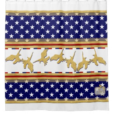 USA Themed USA Colors Gold Eagles Stars White Shower Curtain