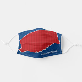 USA Connecticut State Stars and Stripes Map Cloth Face Mask