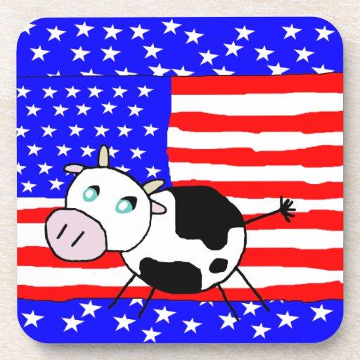 USA Cow Cork Coaster