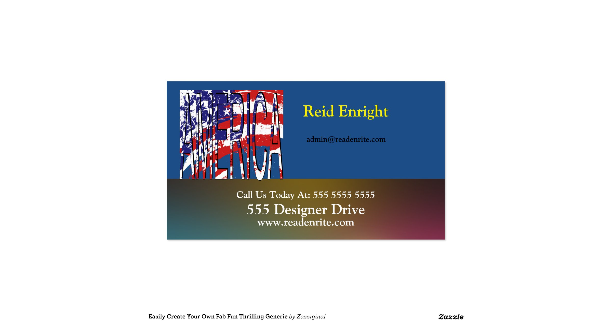 Usa Create Your Own Double Sided Standard Business Cards