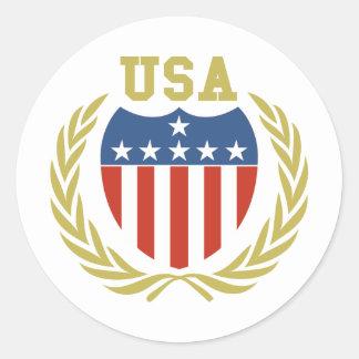 USA Crest Round Stickers