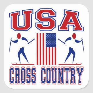 USA Cross Country Skiing Square Sticker
