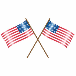 USA crossing flags Statuette