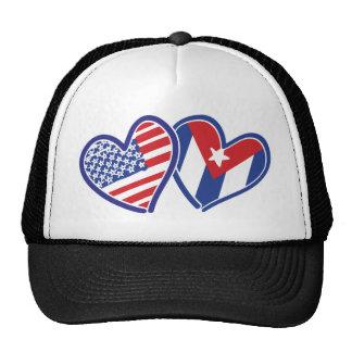 USA CUBA Flag Hearts Mesh Hat