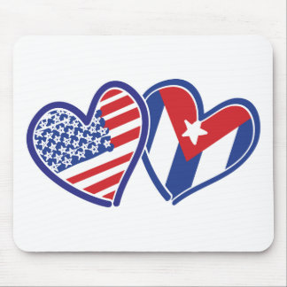 USA CUBA Flag Hearts Mouse Pad