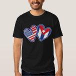 USA CUBA Flag Hearts T-Shirt