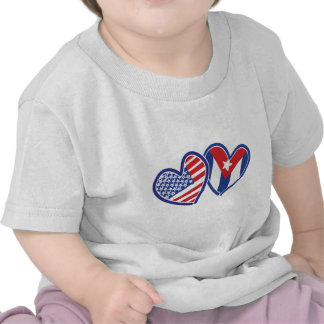 USA CUBA Flag Hearts Shirt