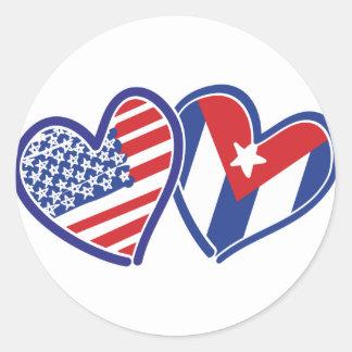 USA Cuba Love Hearts Classic Round Sticker