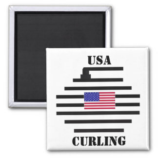 USA Curling 2010 2 Inch Square Magnet