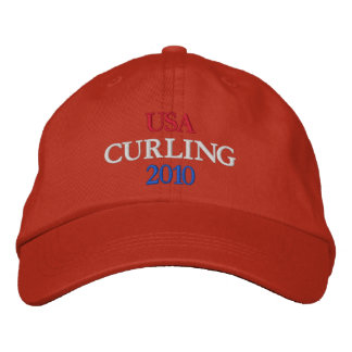 USA CURLING 2010 EMBROIDERED BASEBALL CAPS