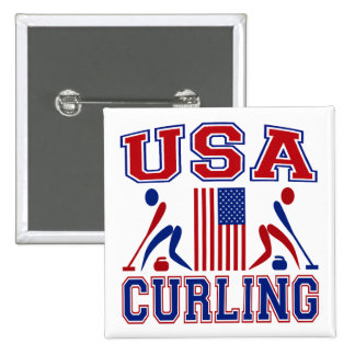 USA Curling Pinback Button