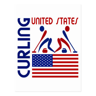 USA Curling Postcard