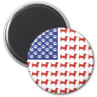 USA Dachshund 2 Inch Round Magnet
