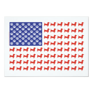 USA Dachshund 5x7 Paper Invitation Card
