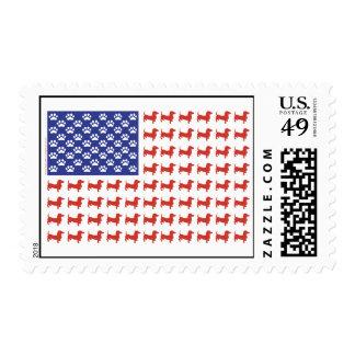 USA Dachshund American Flag Postage Stamp
