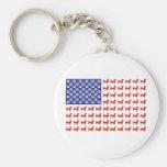 USA Dachshund Basic Round Button Keychain