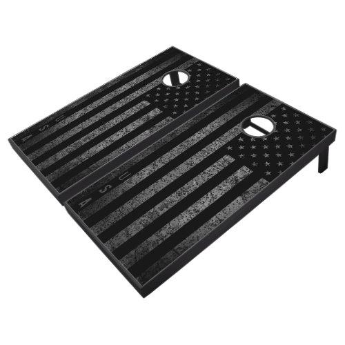 USA Dark Vintage American Flag Cornhole Set