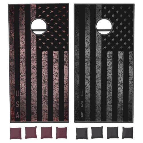 USA Dark Vintage American Flag Teams Cornhole Set