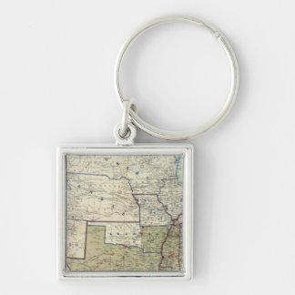 USA Dec 1864 Silver-Colored Square Keychain