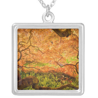 USA, Delaware, Wilmington. Japanese maple Square Pendant Necklace