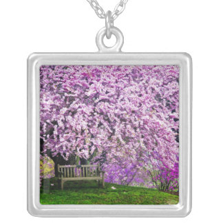USA, Delaware, Wilmington. Wooden bench under Square Pendant Necklace