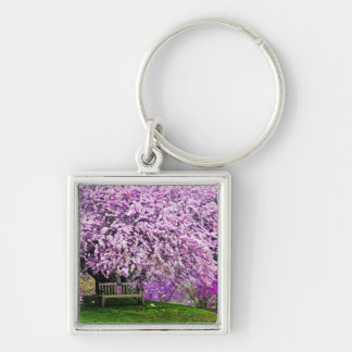 USA, Delaware, Wilmington. Wooden bench under Silver-Colored Square Keychain