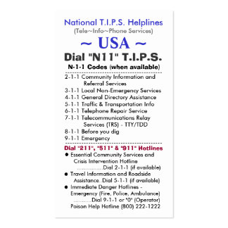 USA Dial N11 T.I.P.S. Helplines Template Business Card