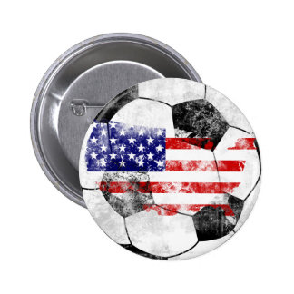 USA Distressed Soccer 2 Inch Round Button