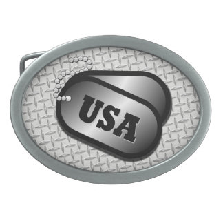 USA DOG TAG BELT BUCKLE w/metal 'look' Oval Belt Buckles