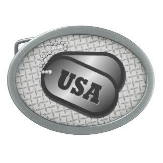 USA DOG TAG BELT BUCKLE w/metal 'look'