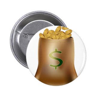 USA Dollar Gold Coin Money Bag Icon 2 Inch Round Button