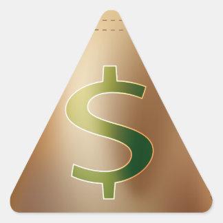 USA Dollar Gold Coin Money Bag Icon Triangle Sticker