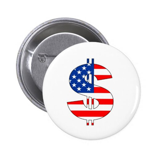 usa dollar symbol money sign pinback button