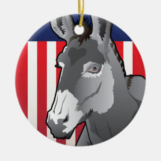 USA Donkey, Democrat Pride Ceramic Ornament