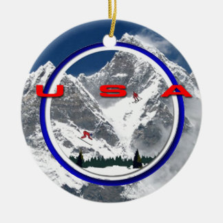 USA Double-Sided CERAMIC ROUND CHRISTMAS ORNAMENT