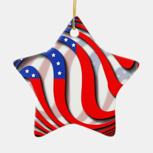 USA Double-Sided STAR CERAMIC CHRISTMAS ORNAMENT