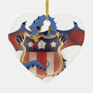 USA Dragon Holding Stars and Stripes Shield Ceramic Ornament