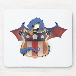 USA Dragon Holding Stars and Stripes Shield Mouse Pad