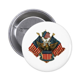 USA Eagle Flags Vintage Americana Pinback Button