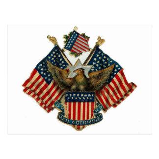 USA Eagle Flags Vintage Americana Postcard