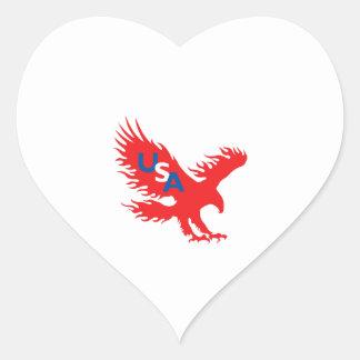 USA EAGLE HEART STICKER