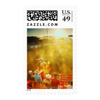 USA,elevated view of bull rider and cowboys at Stamps