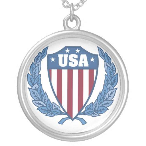USA Emblem Round Pendant Necklace