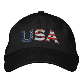 USA Embroidered Stars & Stripes Hat (Black)