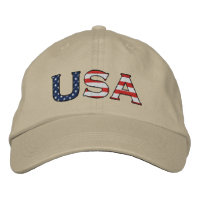 USA Embroidered Stars & Stripes Hat (Khaki)