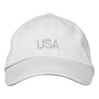 USA Embroidered White Hat