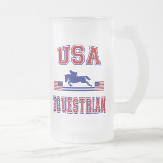 USA Equestrian Frosted Glass Beer Mug